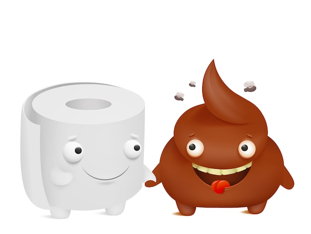 Toilettenpapier und kacken cartoon emoji charaktere besten freunde Premium Vektoren