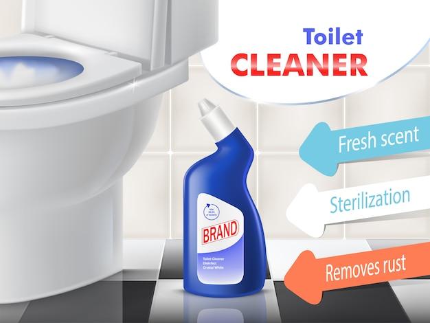 Toilettenreinigungsvektor-förderungsfahne mit weißer keramischer schüssel in der toilette. blaue plastikflasche mit Kostenlosen Vektoren