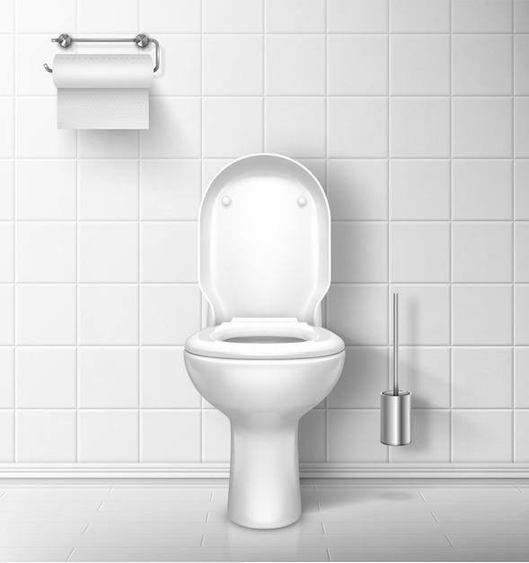 Toilettenschüssel im badezimmer mit papierrolle und bürste Kostenlosen Vektoren