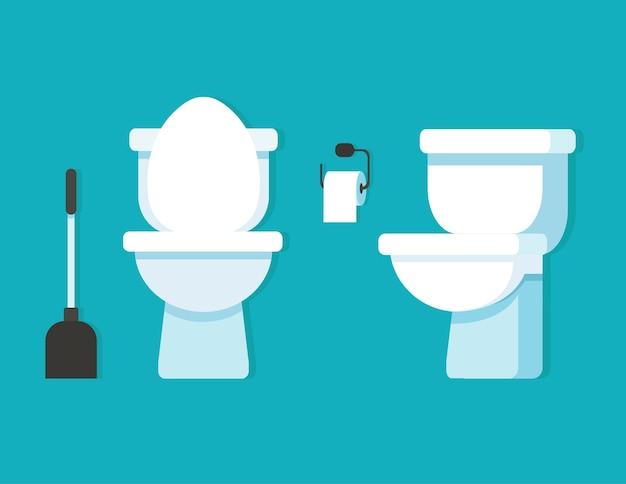 Toilettenschüssel, toilettenpapier, toilettenbürste. Premium Vektoren