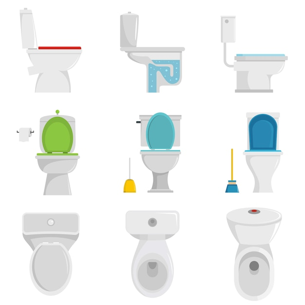Toilettenschüsselikonen eingestellter vektor lokalisiert Premium Vektoren