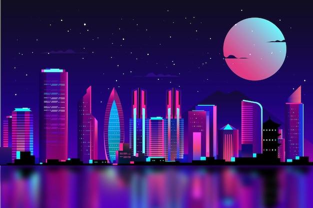 Tokio in neonlichtern mit vollmond Kostenlosen Vektoren