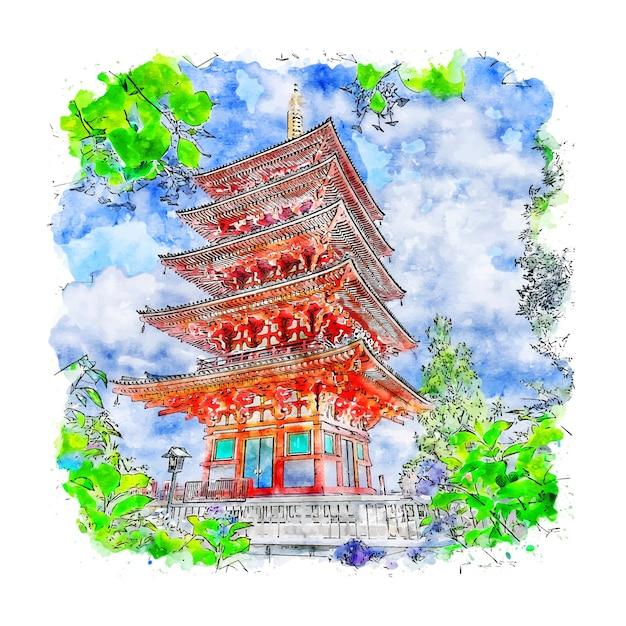 Tokyo temple japan aquarell skizze hand gezeichnete illustration Premium Vektoren