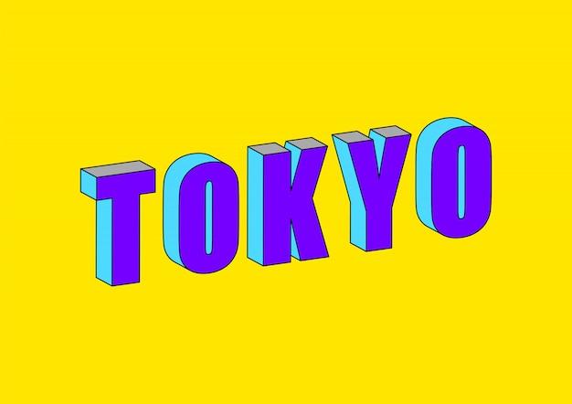 Tokyo-text mit isometrischem effekt 3d Premium Vektoren