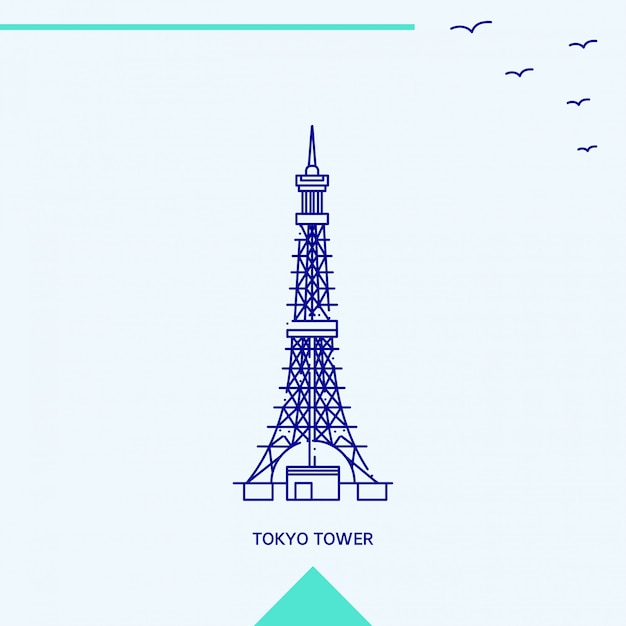 Tokyo-turm-skyline-vektorillustration Kostenlosen Vektoren