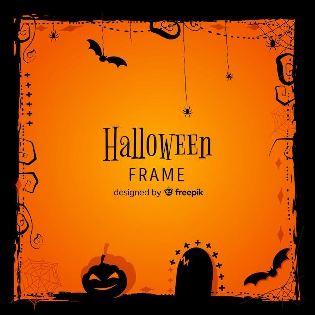 Toller halloween-rahmen mit flachem design Kostenlosen Vektoren