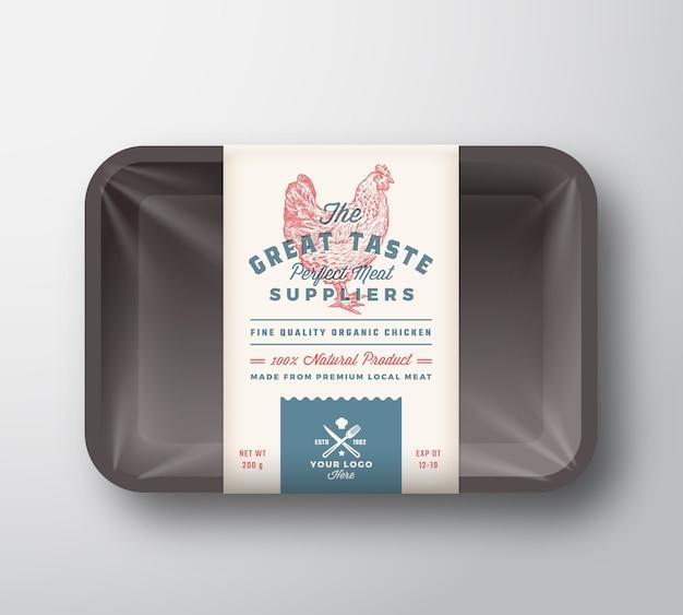Tolles geflügel. fleischplastikbehälterbehälter mit zellophanabdeckung. retro typografie verpackung design label vorlage. hand gezeichnete huhn vintage Premium Vektoren