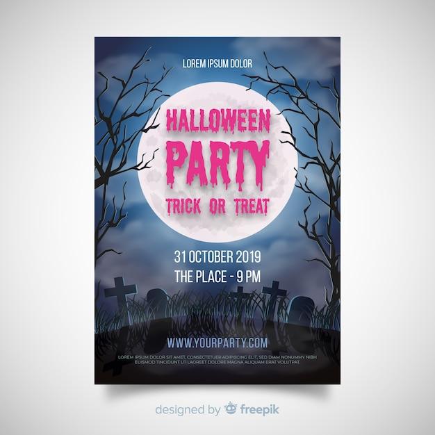 Tolles halloween party poster mit realistischem design Kostenlosen Vektoren