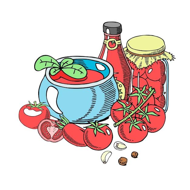 Tomaten bio-sauce Premium Vektoren