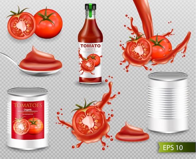 Tomaten realistische sammlung mit spritzen Premium Vektoren