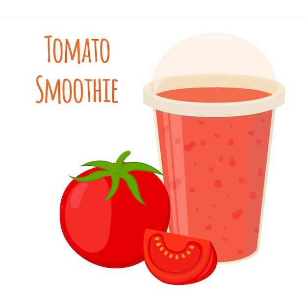 Tomaten-smoothie, tomatensaft im cartoon-stil Premium Vektoren