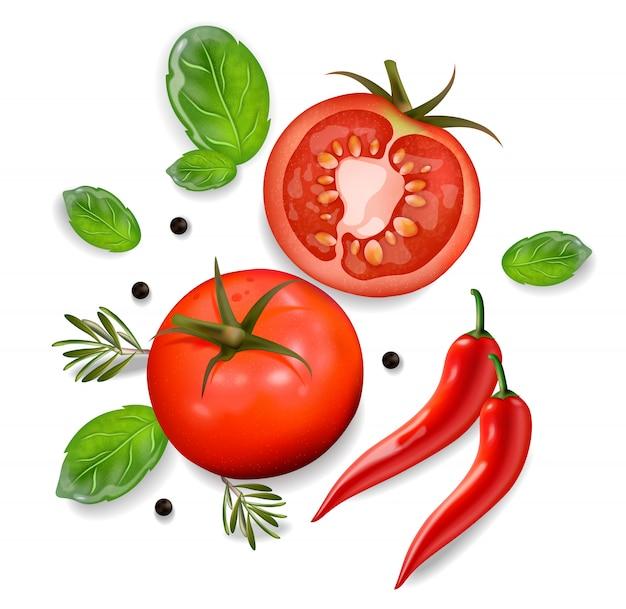 Tomaten und chili hintergrund Premium Vektoren