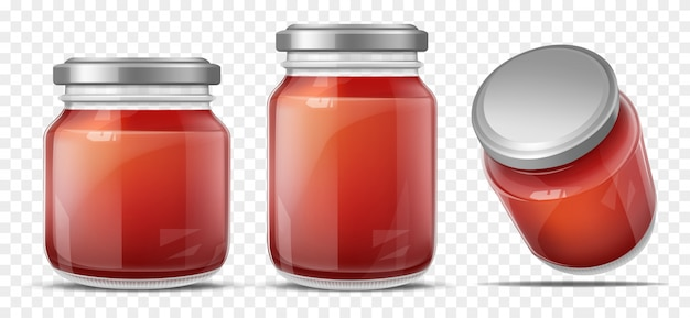 Tomatensauce im realistischen vektor des glasgefäßes Kostenlosen Vektoren