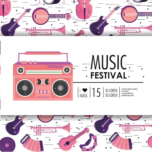 Tonbandgerätausrüstung zum musikfestival Premium Vektoren
