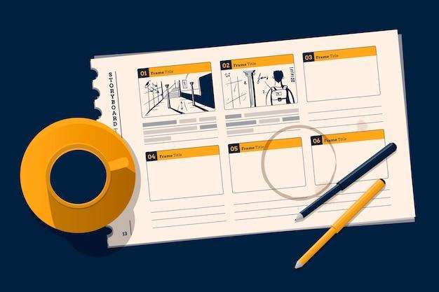 Top view storyboard illustration Kostenlosen Vektoren