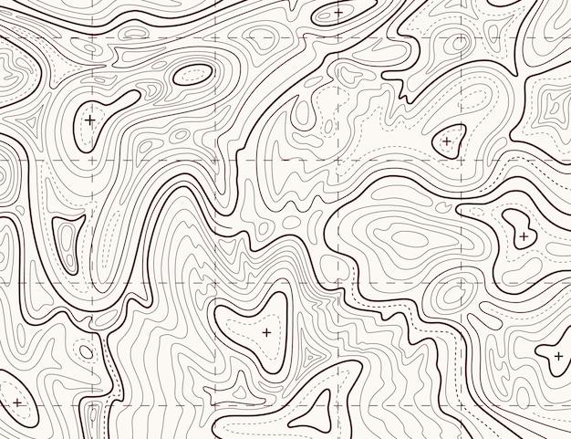 Topographische karte. hinterkartierungsgitter, kontur-geländerelief-linienbeschaffenheit Premium Vektoren