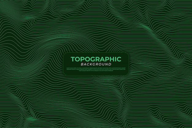 Topographischer kartenhintergrund mit grünen linien Premium Vektoren