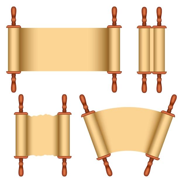 Torah-scroll-bibel-modellsatz Premium Vektoren