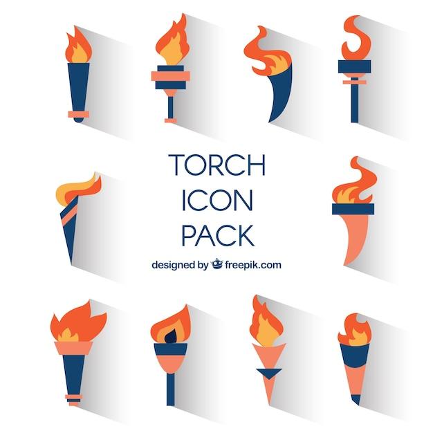 Torch-icons pack Kostenlosen Vektoren