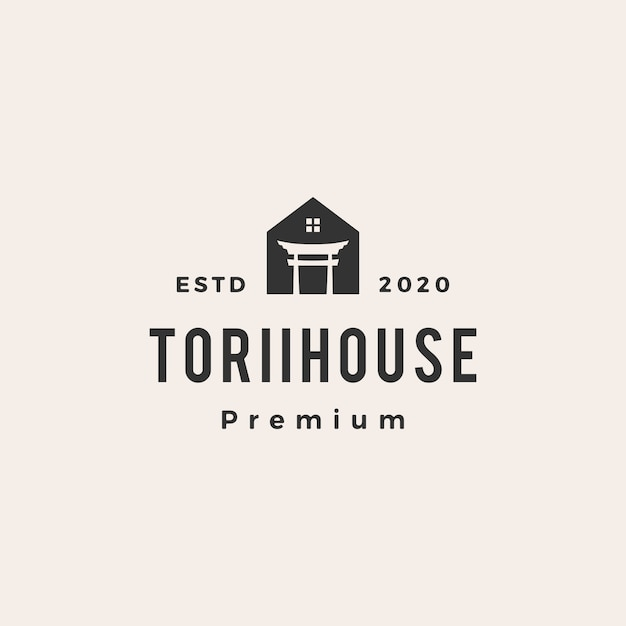 Torii haus vintage logo symbol illustration Premium Vektoren