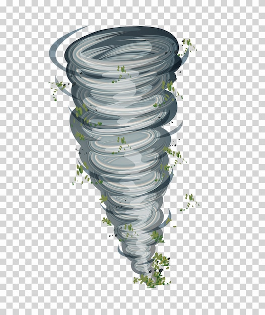 Tornado auf transparentem hintergrund Kostenlosen Vektoren