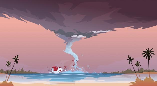 Tornado, der vom seehurrikan in der ozean-strand-landschaft des sturm waterspout twister-naturkatastrophen-konzeptes ankommt Premium Vektoren