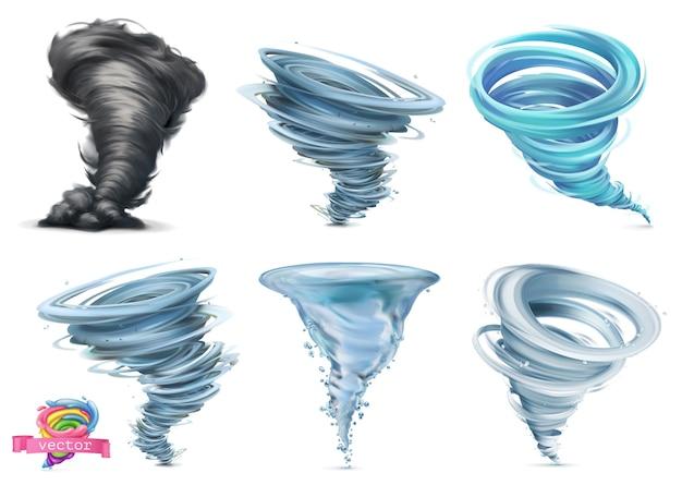 Tornado. hurrikan. 3d-vektorillustrationssatz Premium Vektoren
