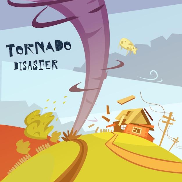 Tornado-katastrophenillustration Kostenlosen Vektoren