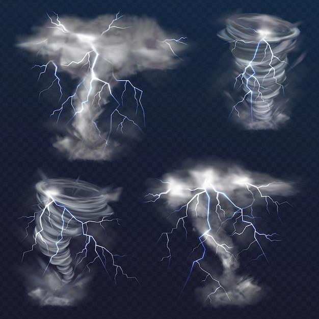Tornado mit blitzillustration des realistischen blitzlichtblitzes im twisterhurrikan Kostenlosen Vektoren