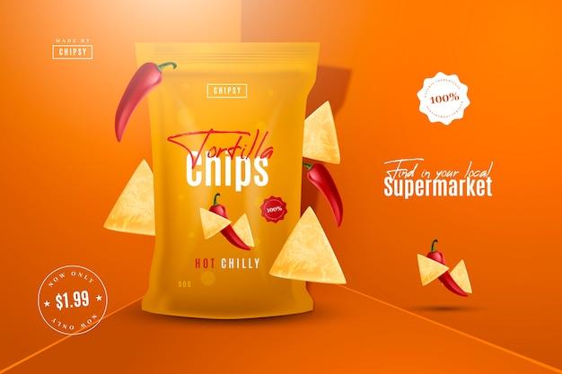 Tortilla chips lebensmittelprodukt anzeige Kostenlosen Vektoren
