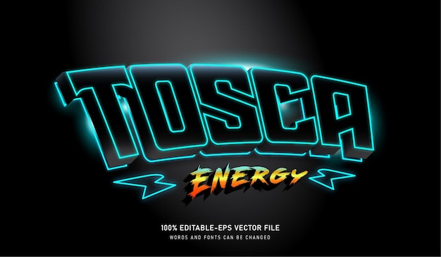 Tosca energy text effect bearbeitbar font mit thunder Premium Vektoren
