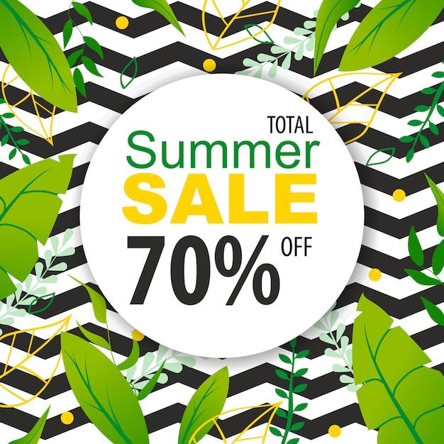 Total summer sale bis zu 70 prozent flat banner. Premium Vektoren