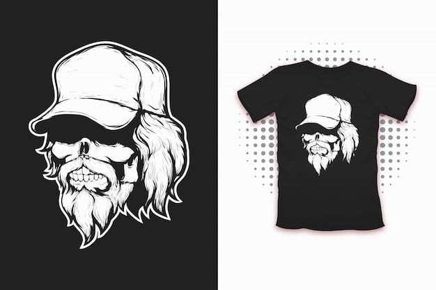 Totenkopf mit cap-print für t-shirt Premium Vektoren