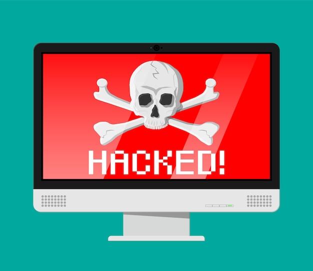 Totenkopf und gekreuzte knochen auf dem computerbildschirm Premium Vektoren