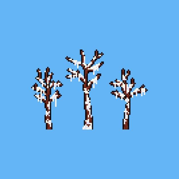 Toter baum der pixelkunst bedeckt mit schnee. Premium Vektoren