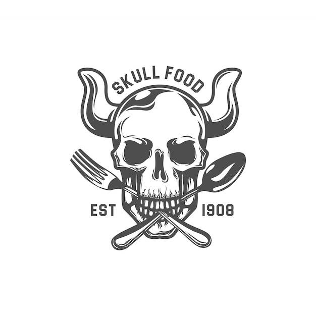 Toter schädel beißen gabel und löffel. restaurant logo vorlage. sechseck-vektorzeichnung Premium Vektoren