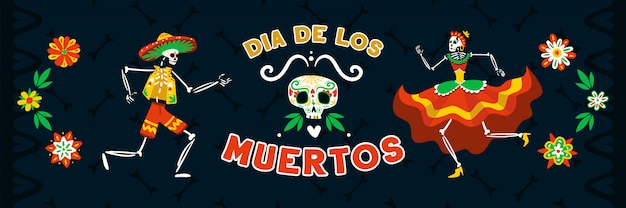 Totes fest des mexikanischen tages mit dem tanzen in den schwarzen horizontalen fahnenvektorillustrationen der nationalen kostüme skelette Kostenlosen Vektoren