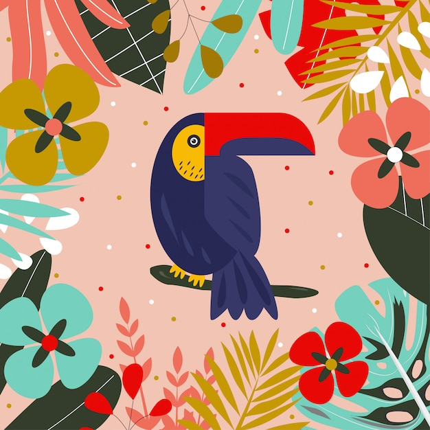 Toucan auf einem ast, umgeben von tropischen blättern Premium Vektoren