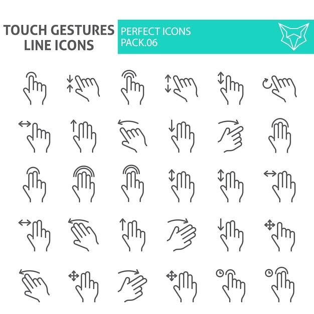 Touch gesten dünne linie icon-set, klicken sie auf sammlung Premium Vektoren