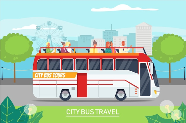 Tour ausflug tour mit dem bus Premium Vektoren
