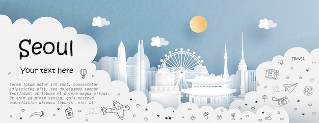 Tour und reise mit reisen nach seoul Premium Vektoren