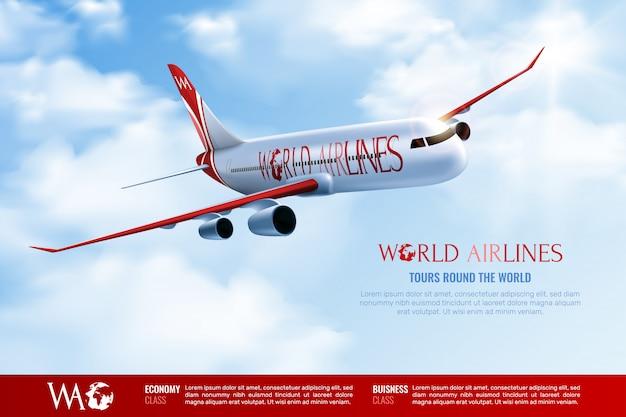 Touren um weltwerbeplakat mit reisendem passagierflugzeug auf bewölktem blauem himmel realistisch Kostenlosen Vektoren