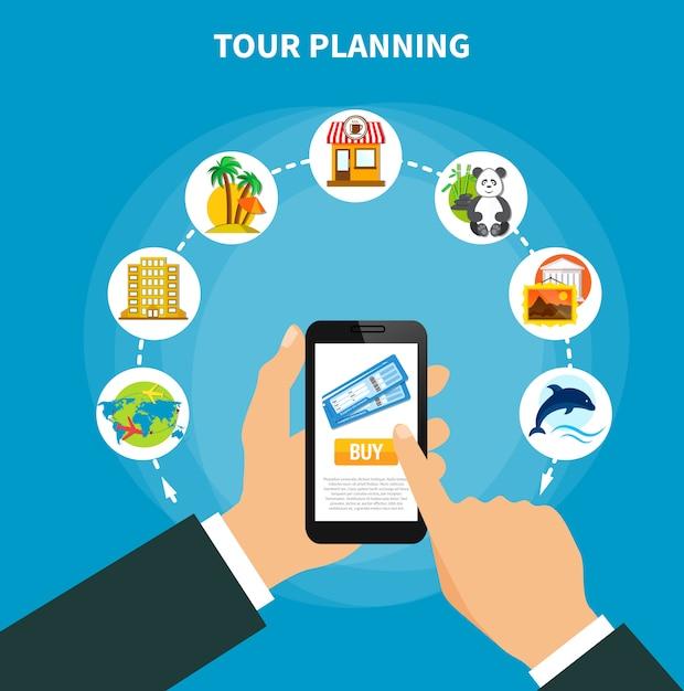 Tourenplanung mit tickets auf dem smartphone-bildschirm Kostenlosen Vektoren