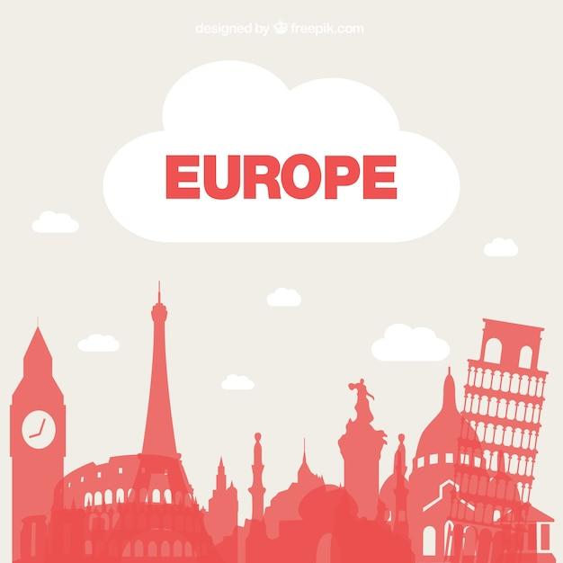 Tourismus europa-vektor-hintergrund Kostenlosen Vektoren