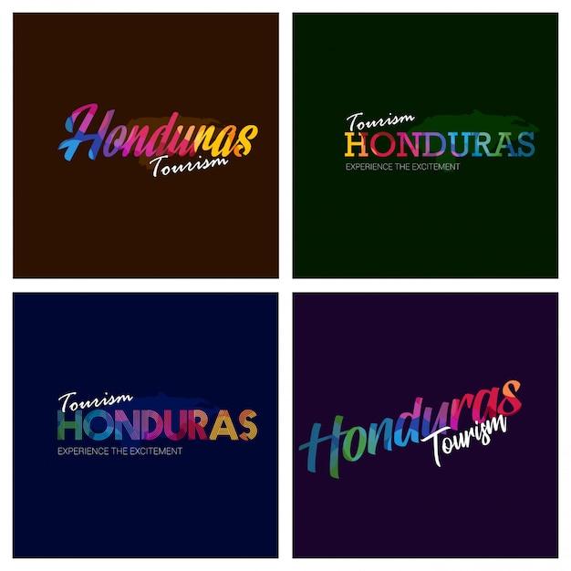 Tourismus-honduras-typografie-logo-hintergrundsatz Kostenlosen Vektoren