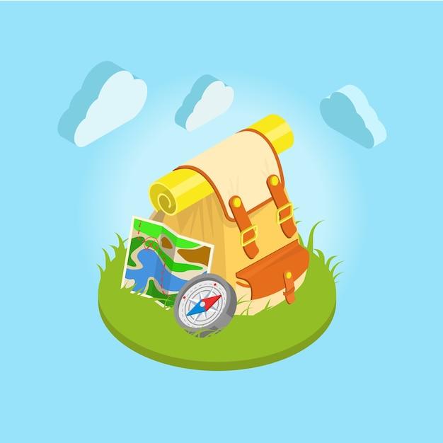Tourismus-rucksack auf der gras-kompass-nesbo-karte mit wolken im hintergrund Premium Vektoren