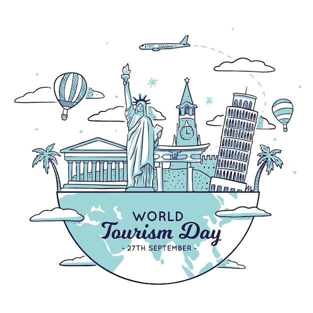 Tourismus tag illustration mit verschiedenen sehenswürdigkeiten Kostenlosen Vektoren