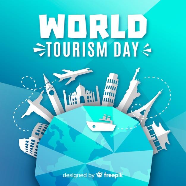 Tourismus-tageshintergrund mit monumenten um erde Kostenlosen Vektoren
