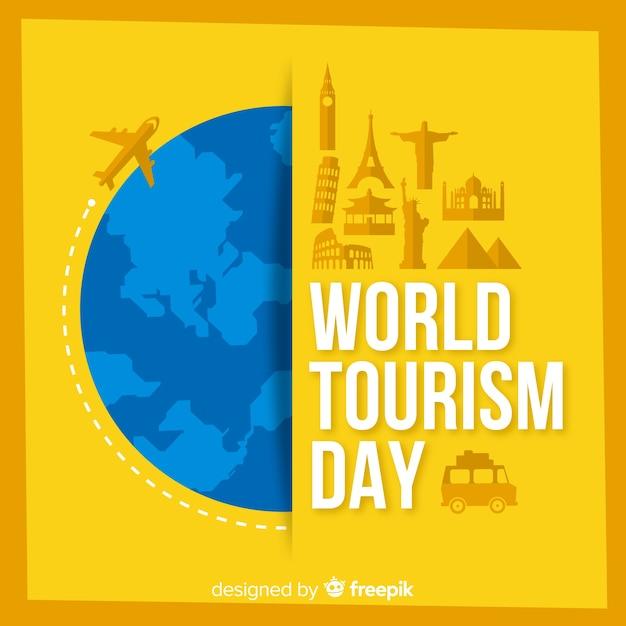 Tourismus-tageshintergrund mit welt und monumenten im flachen design Kostenlosen Vektoren