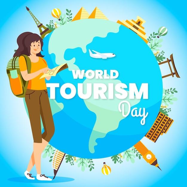 Tourismus-tagesillustration mit weiblichem rucksacktouristen und globus Premium Vektoren